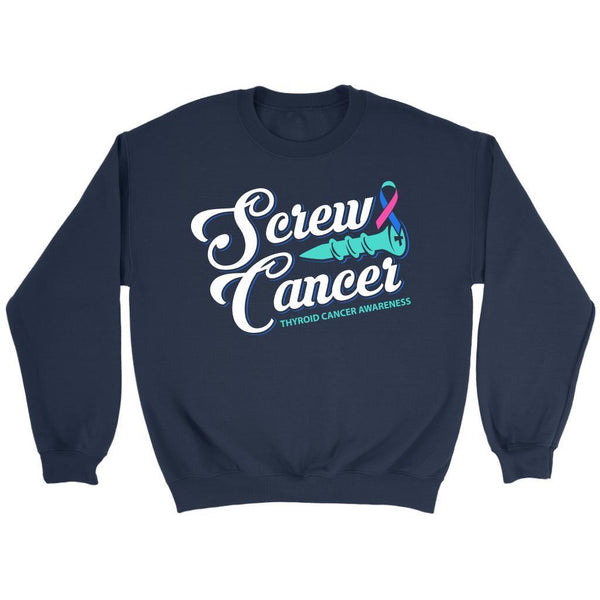 Screw Thyroid Cancer Awareness Teal Pink & Blue Ribbon Awesome Gift Idea Sweater-T-shirt-Crewneck Sweatshirt-Navy-JoyHip.Com