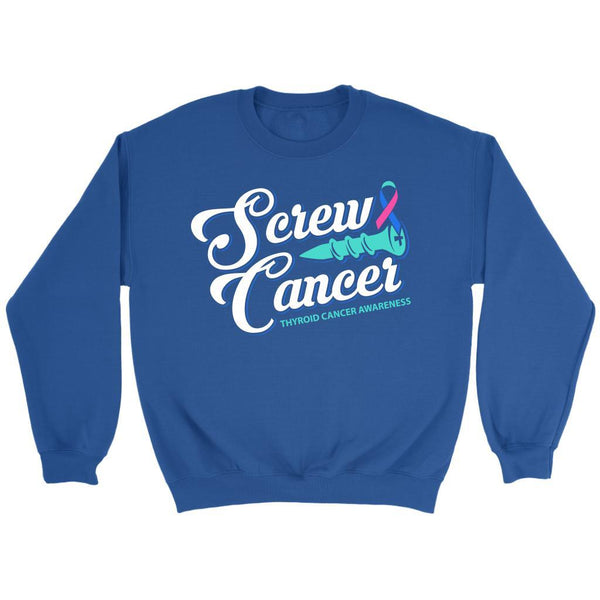 Screw Thyroid Cancer Awareness Teal Pink & Blue Ribbon Awesome Gift Idea Sweater-T-shirt-Crewneck Sweatshirt-Royal Blue-JoyHip.Com