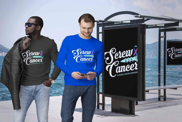 Screw Thyroid Cancer Awareness Teal Pink & Blue Ribbon Awesome Gift Idea Sweater-T-shirt-JoyHip.Com