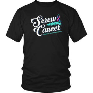 Screw Thyroid Cancer Awareness Teal Pink & Blue Ribbon Awesome Gift Ideas TShirt-T-shirt-District Unisex Shirt-Black-JoyHip.Com