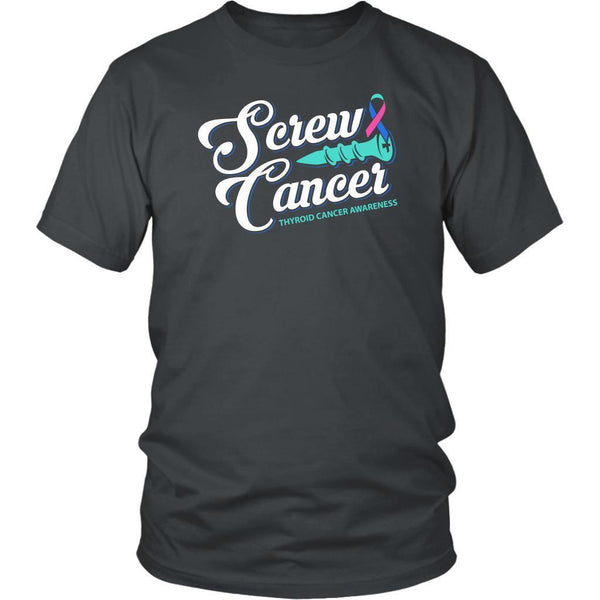 Screw Thyroid Cancer Awareness Teal Pink & Blue Ribbon Awesome Gift Ideas TShirt-T-shirt-District Unisex Shirt-Grey-JoyHip.Com