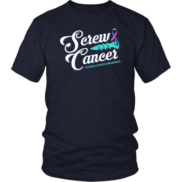 Screw Thyroid Cancer Awareness Teal Pink & Blue Ribbon Awesome Gift Ideas TShirt-T-shirt-District Unisex Shirt-Navy-JoyHip.Com