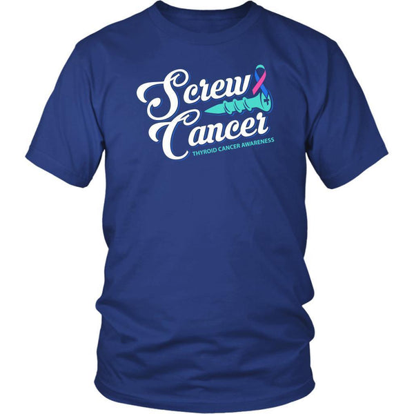 Screw Thyroid Cancer Awareness Teal Pink & Blue Ribbon Awesome Gift Ideas TShirt-T-shirt-District Unisex Shirt-Royal Blue-JoyHip.Com