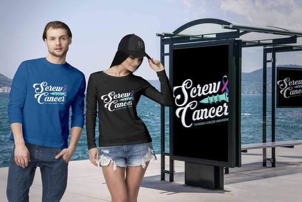 Screw Thyroid Cancer Awareness Teal Pink & Blue Ribbon Awesome Gift Long Sleeve-T-shirt-JoyHip.Com