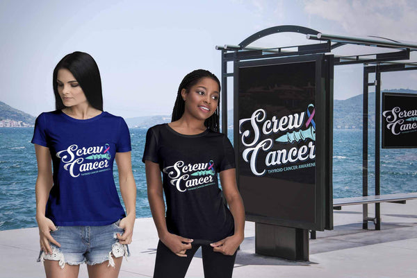 Screw Thyroid Cancer Awareness Teal Pink & Blue Ribbon Awesome Gift Women TShirt-T-shirt-JoyHip.Com