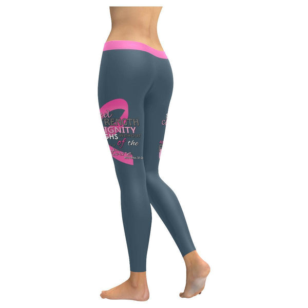 She Is Clothed With Strength & Dignity Breast Cancer Pink Ribbon Womens Leggings-JoyHip.Com