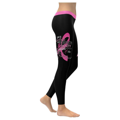 She Is Clothed With Strength & Dignity Breast Cancer Pink Ribbon Womens Leggings-XXS-Black-JoyHip.Com