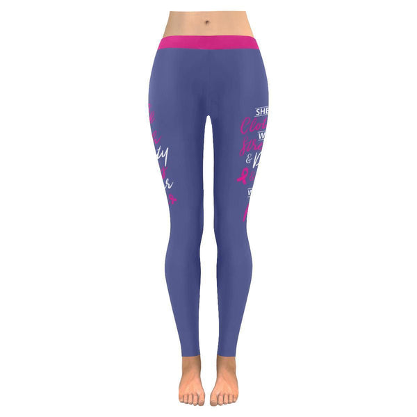 She Is Clothed With Strength & Dignity Breast Cancer Pink UPF40+ Womens Leggings-JoyHip.Com