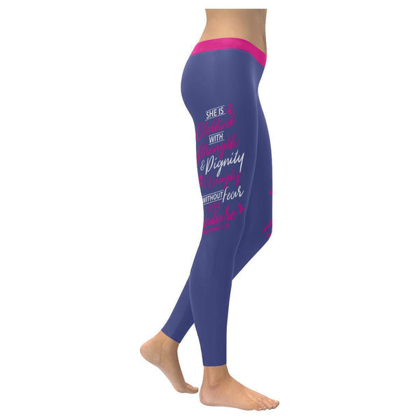 She Is Clothed With Strength & Dignity Breast Cancer Pink UPF40+ Womens Leggings-XXS-Orchid-JoyHip.Com