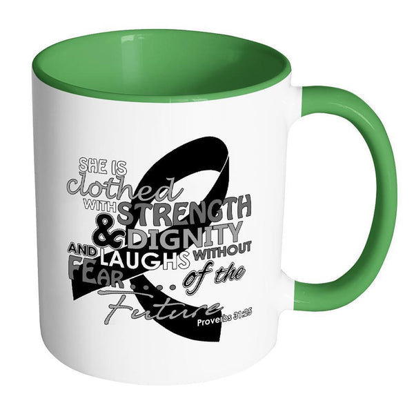 She Is Clothed With Strength Dignity Laughs Without Fear Of The Future Melanoma-Drinkware-Accent Mug - Green-JoyHip.Com