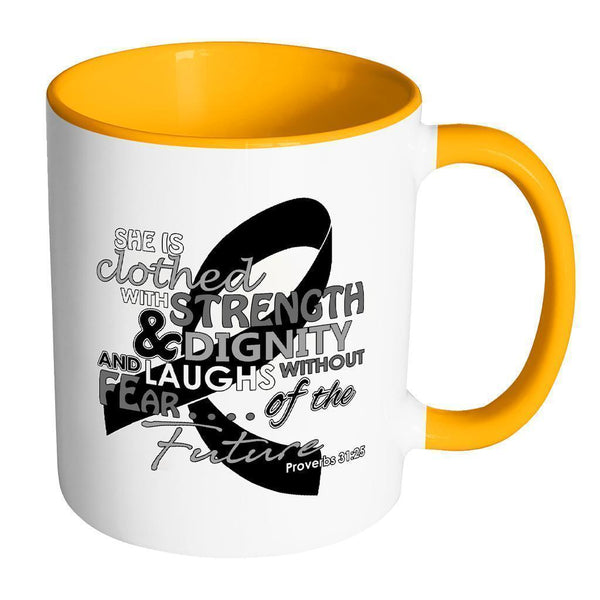 She Is Clothed With Strength Dignity Laughs Without Fear Of The Future Melanoma-Drinkware-Accent Mug - Orange-JoyHip.Com