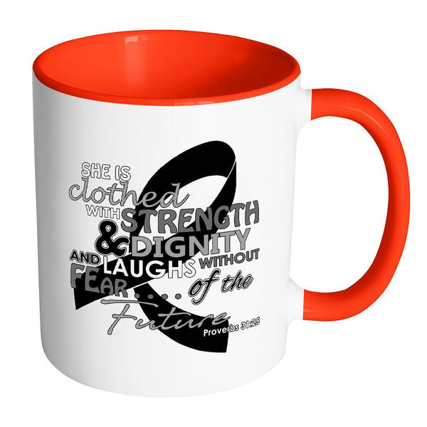 She Is Clothed With Strength Dignity Laughs Without Fear Of The Future Melanoma-Drinkware-Accent Mug - Red-JoyHip.Com