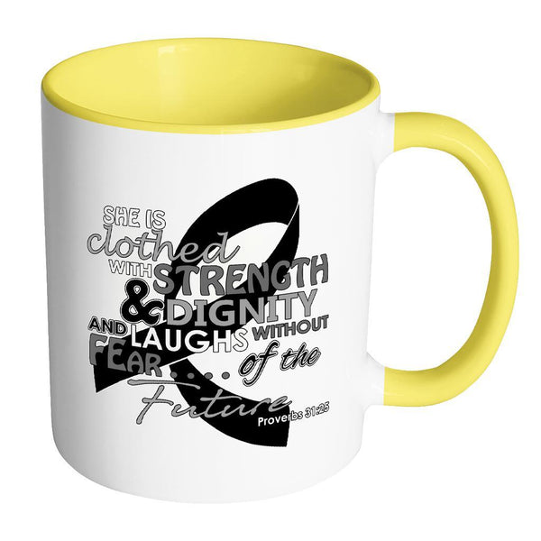 She Is Clothed With Strength Dignity Laughs Without Fear Of The Future Melanoma-Drinkware-Accent Mug - Yellow-JoyHip.Com