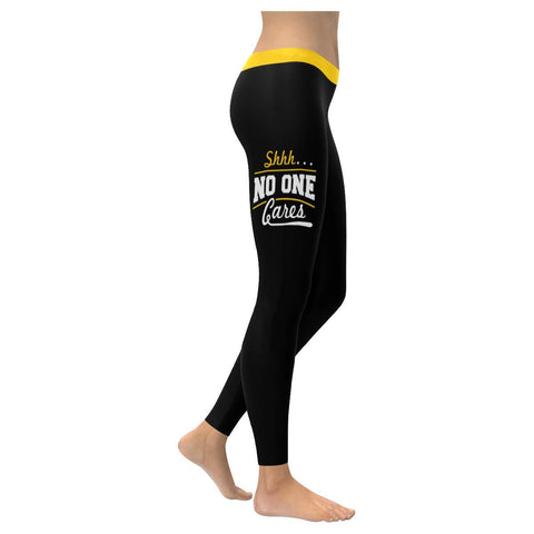 Shhh No One Cares Sarcasm Soft Leggings For Women Cool Cute Funny Sarcastic Gift-XXS-Black-JoyHip.Com