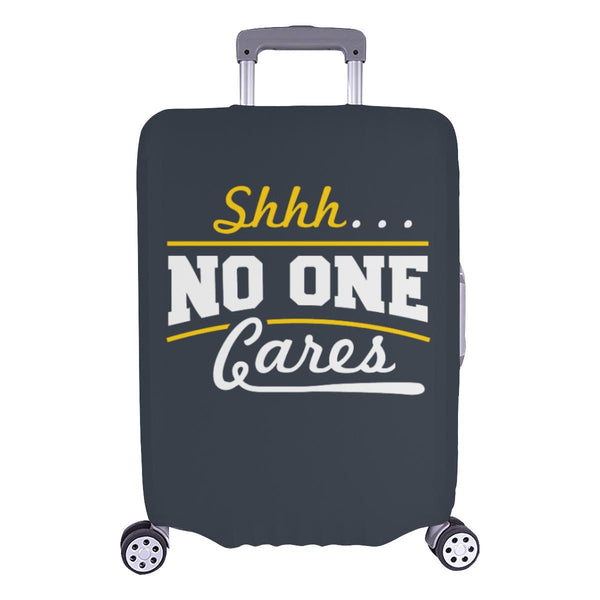 "Shhh No One Cares Sarcastic Travel Luggage Cover Suitcase Protector 18""-28""-L-Grey-JoyHip.Com"