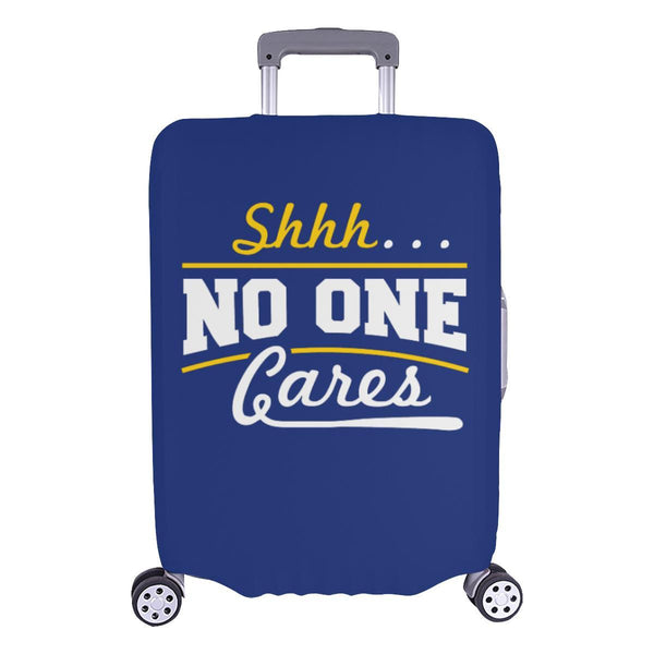 "Shhh No One Cares Sarcastic Travel Luggage Cover Suitcase Protector 18""-28""-L-Navy-JoyHip.Com"