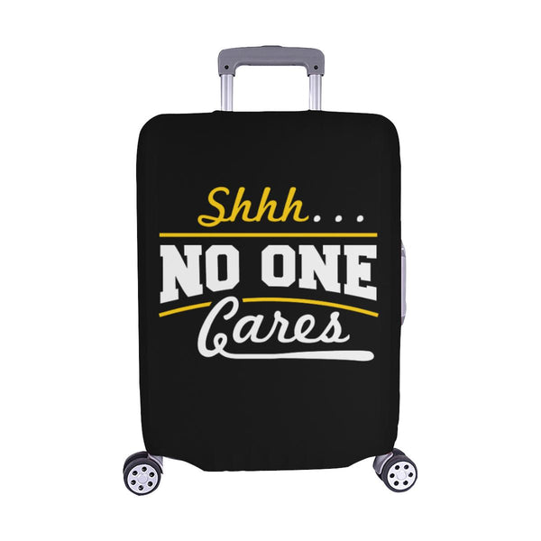 "Shhh No One Cares Sarcastic Travel Luggage Cover Suitcase Protector 18""-28""-M-Black-JoyHip.Com"