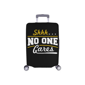 "Shhh No One Cares Sarcastic Travel Luggage Cover Suitcase Protector 18""-28""-S-Black-JoyHip.Com"