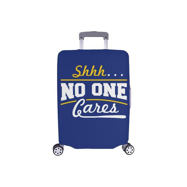 "Shhh No One Cares Sarcastic Travel Luggage Cover Suitcase Protector 18""-28""-S-Navy-JoyHip.Com"