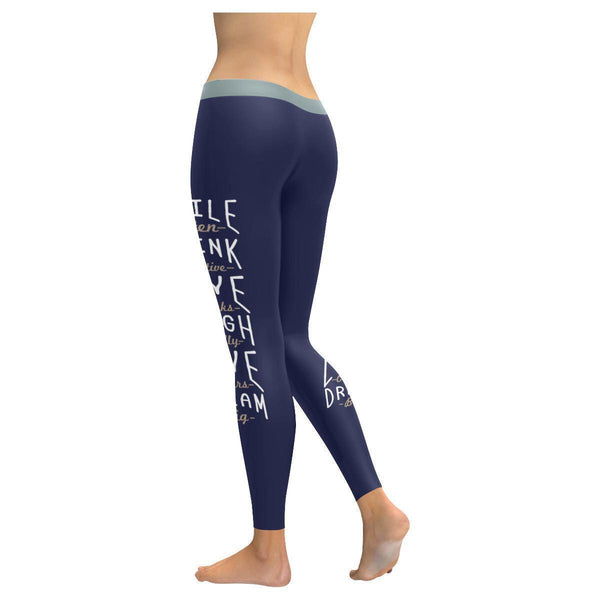 Smile Often Think Positive Love Others Dream Big Motivational Womens Leggings-JoyHip.Com
