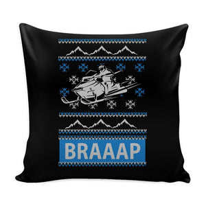 Snowmobile Braaap Festive Funny Ugly Christmas Holiday Sweater Decorative Throw Pillow Cases Cover(4 Colors)-Pillows-Black-JoyHip.Com