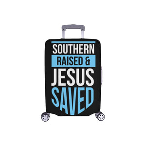 Southern Raised & Jesus Saved Christian Travel Luggage Cover Suitcase Protector-S-Black-JoyHip.Com