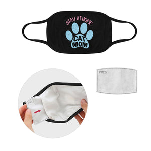 Stay At Home Cat Mom Mothers Day Washable Reusable Face Mask With Filter Pocket-Face Mask-L-Black-JoyHip.Com