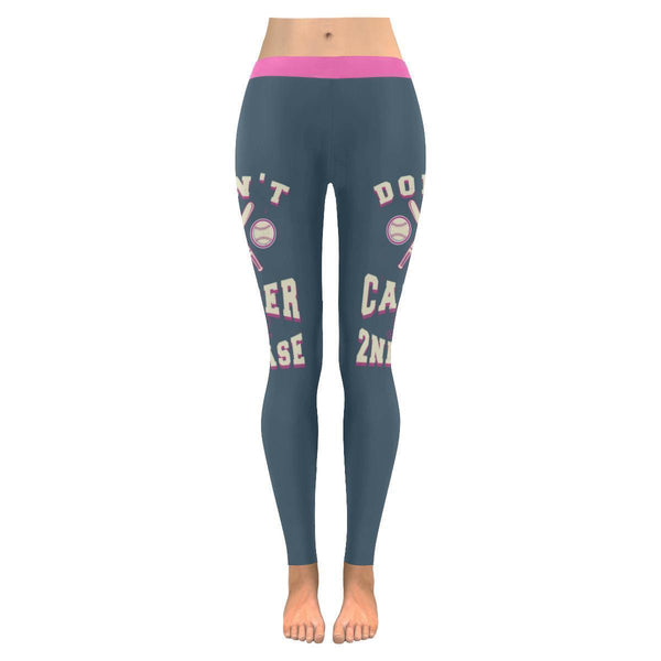 Steal 2nd Base Baseball Breast Cancer Pink Ribbon Awareness UPF40 Women Leggings-JoyHip.Com
