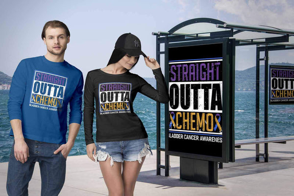 Straight Outta Chemo Bladder Cancer Awareness Teal Pink Blue Ribbon Long Sleeve-T-shirt-JoyHip.Com