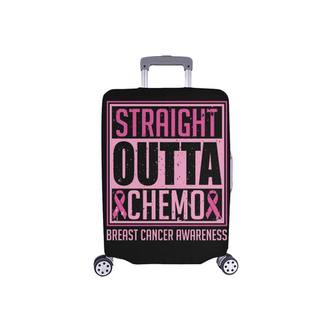 Straight Outta Chemo Breast Cancer Travel Luggage Cover Suitcase Protector Gifts-S-Black-JoyHip.Com