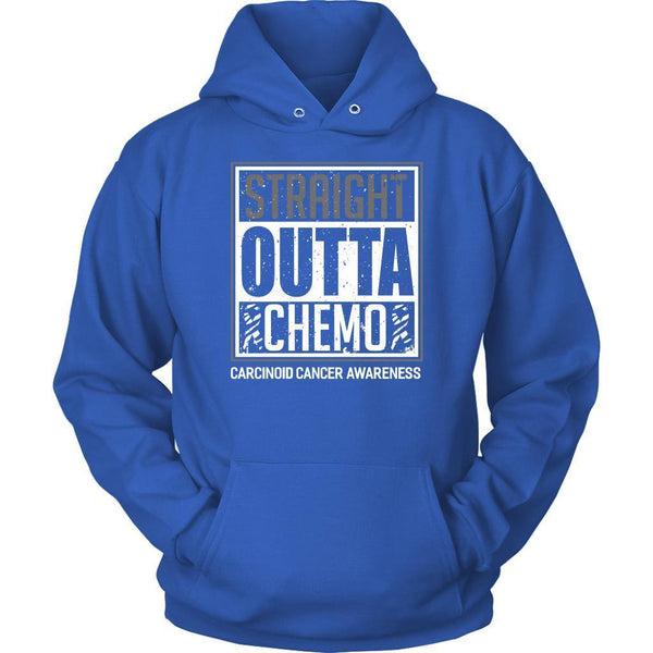 Straight Outta Chemo Carcinoid Cancer Awareness Zebra Stripe Ribbon Gift Hoodie-T-shirt-Unisex Hoodie-Royal Blue-JoyHip.Com