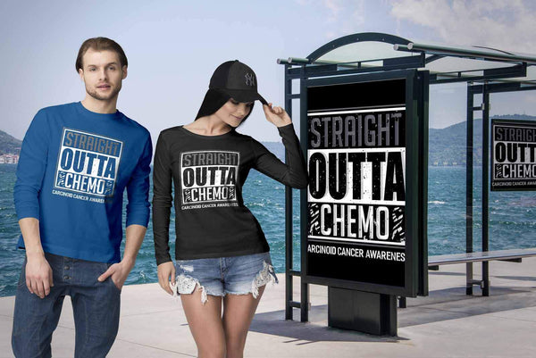 Straight Outta Chemo Carcinoid Cancer Awareness Zebra Stripe Ribbon Long Sleeve-T-shirt-JoyHip.Com