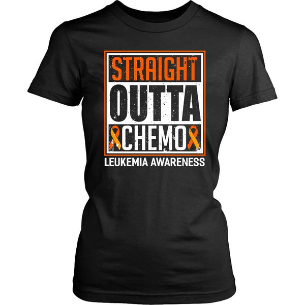 Straight Outta Chemo Leukemia Awareness Orange Ribbon Women T-Shirt-T-shirt-District Womens Shirt-Black-JoyHip.Com
