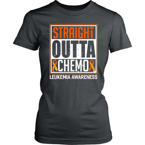 Straight Outta Chemo Leukemia Awareness Orange Ribbon Women T-Shirt-T-shirt-District Womens Shirt-Grey-JoyHip.Com