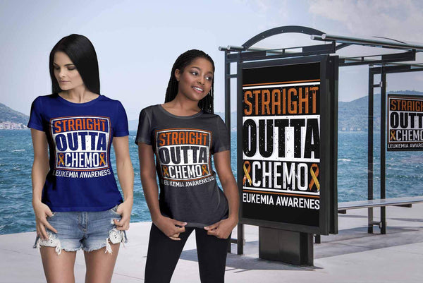 Straight Outta Chemo Leukemia Awareness Orange Ribbon Women T-Shirt-T-shirt-JoyHip.Com