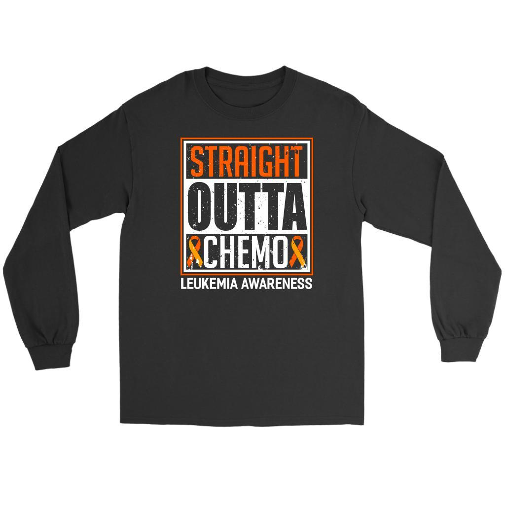 Straight Outta Chemo Leukemia Awareness Unisex Long Sleeve T-Shirts-T-shirt-Gildan Long Sleeve Tee-Black-JoyHip.Com