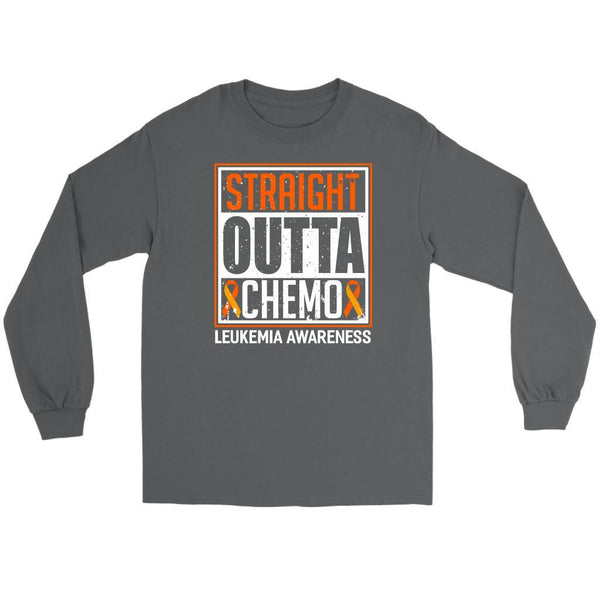 Straight Outta Chemo Leukemia Awareness Unisex Long Sleeve T-Shirts-T-shirt-Gildan Long Sleeve Tee-Grey-JoyHip.Com