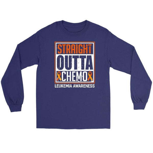 Straight Outta Chemo Leukemia Awareness Unisex Long Sleeve T-Shirts-T-shirt-Gildan Long Sleeve Tee-Purple-JoyHip.Com