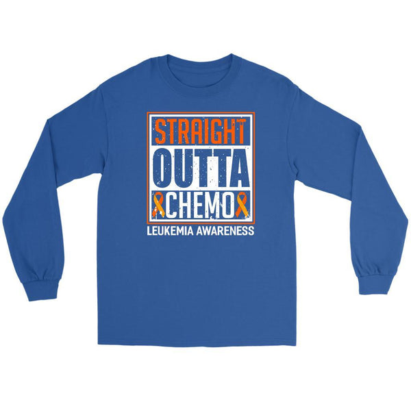Straight Outta Chemo Leukemia Awareness Unisex Long Sleeve T-Shirts-T-shirt-Gildan Long Sleeve Tee-Royal Blue-JoyHip.Com