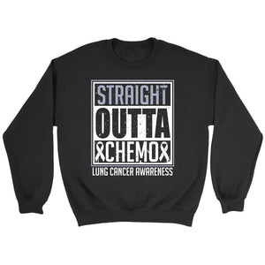 Straight Outta Chemo Lung Cancer Awareness White Ribbon Gift Sweater-T-shirt-Crewneck Sweatshirt-Black-JoyHip.Com