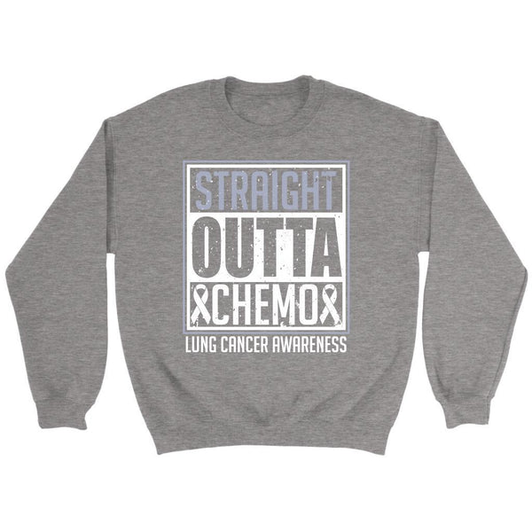 Straight Outta Chemo Lung Cancer Awareness White Ribbon Gift Sweater-T-shirt-Crewneck Sweatshirt-Grey-JoyHip.Com