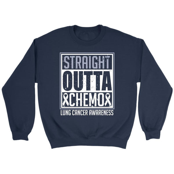 Straight Outta Chemo Lung Cancer Awareness White Ribbon Gift Sweater-T-shirt-Crewneck Sweatshirt-Navy-JoyHip.Com