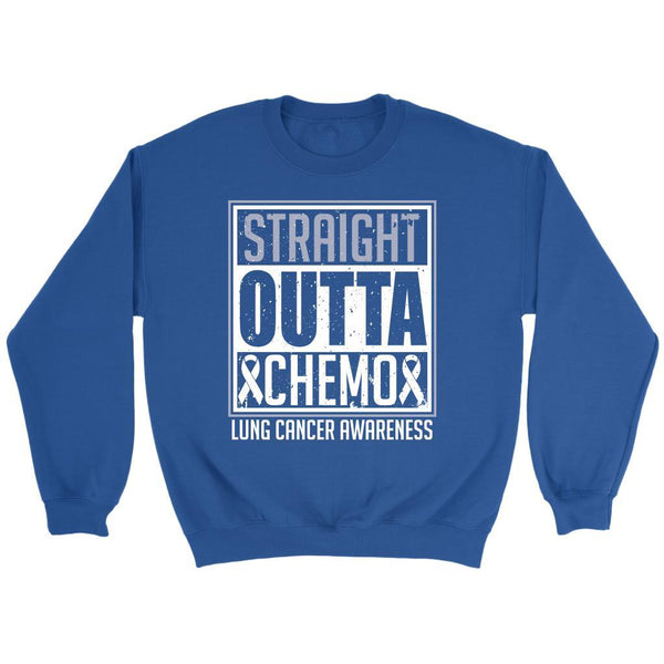 Straight Outta Chemo Lung Cancer Awareness White Ribbon Gift Sweater-T-shirt-Crewneck Sweatshirt-Royal Blue-JoyHip.Com