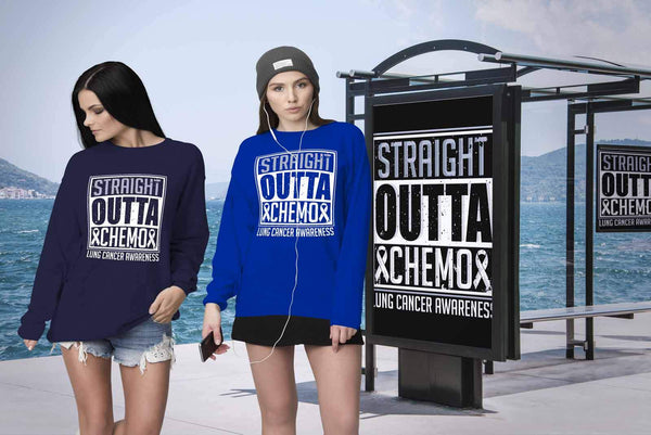 Straight Outta Chemo Lung Cancer Awareness White Ribbon Gift Sweater-T-shirt-JoyHip.Com