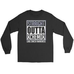 Straight Outta Chemo Lung Cancer Awareness White Ribbon Long Sleeve-T-shirt-Gildan Long Sleeve Tee-Black-JoyHip.Com
