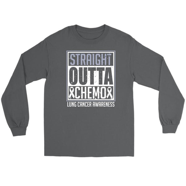 Straight Outta Chemo Lung Cancer Awareness White Ribbon Long Sleeve-T-shirt-Gildan Long Sleeve Tee-Grey-JoyHip.Com