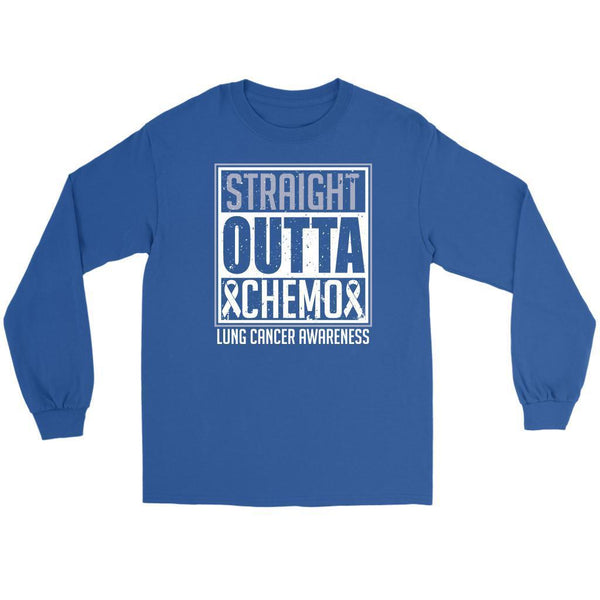 Straight Outta Chemo Lung Cancer Awareness White Ribbon Long Sleeve-T-shirt-Gildan Long Sleeve Tee-Royal Blue-JoyHip.Com