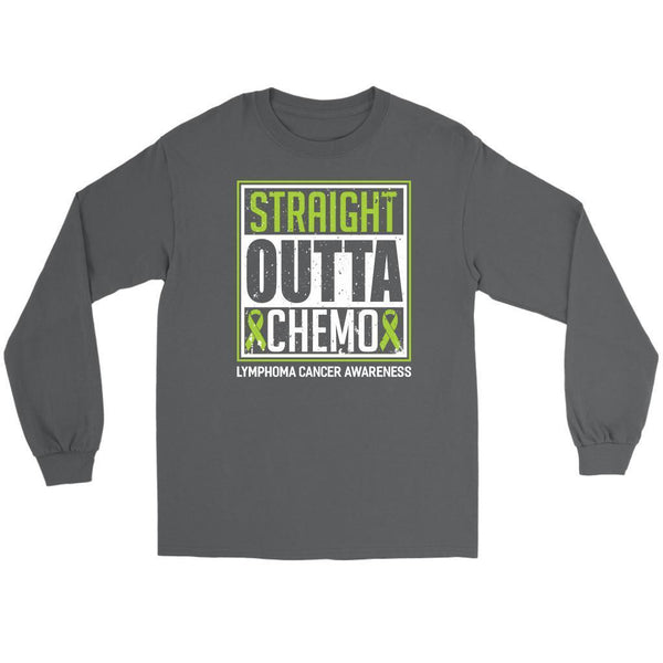 Straight Outta Chemo Lymphoma Awareness Lime Green Ribbon Gift Ideas Long Sleeve-T-shirt-Gildan Long Sleeve Tee-Grey-JoyHip.Com