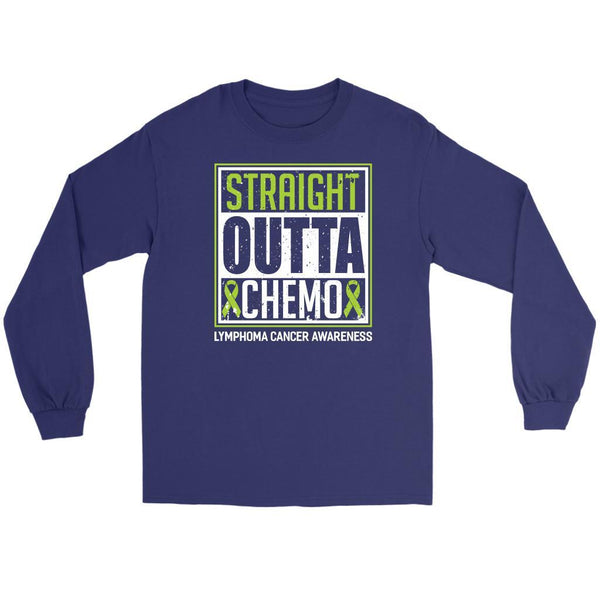 Straight Outta Chemo Lymphoma Awareness Lime Green Ribbon Gift Ideas Long Sleeve-T-shirt-Gildan Long Sleeve Tee-Purple-JoyHip.Com