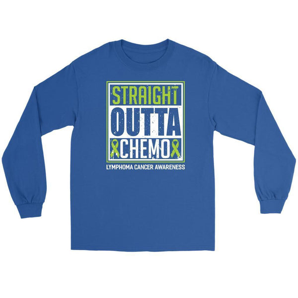 Straight Outta Chemo Lymphoma Awareness Lime Green Ribbon Gift Ideas Long Sleeve-T-shirt-Gildan Long Sleeve Tee-Royal Blue-JoyHip.Com